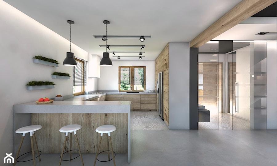 (Będzin) Projekt domu jednorodzinnego 4 - Duża otwarta biała kuchnia w kształcie litery g w aneksie, ... - zdjęcie od BAGUA Pracownia Architektury Wnętrz