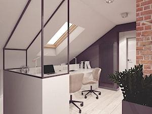 Mieszkanie 10 - Kraków - Średnie czarne białe biuro kącik do pracy na poddaszu, styl nowoczesny - zdjęcie od BAGUA Pracownia Architektury Wnętrz