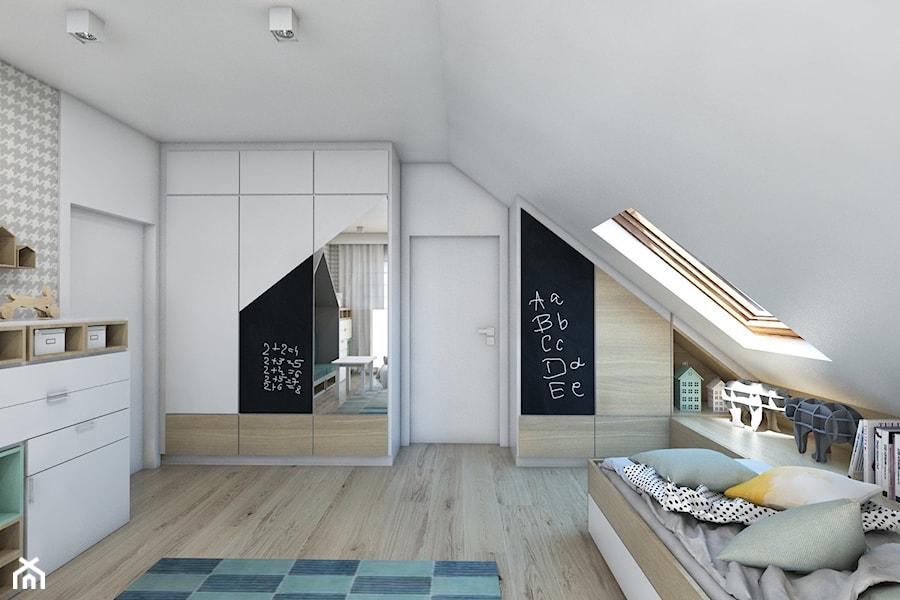 (Dom w okolicy Lublińca) Dom jednorodzinny 7 - Średni biały szary pokój dziecka dla chłopca dla dziewczynki dla ucznia dla nastolatka, styl nowoczesny - zdjęcie od BAGUA Pracownia Architektury Wnętrz