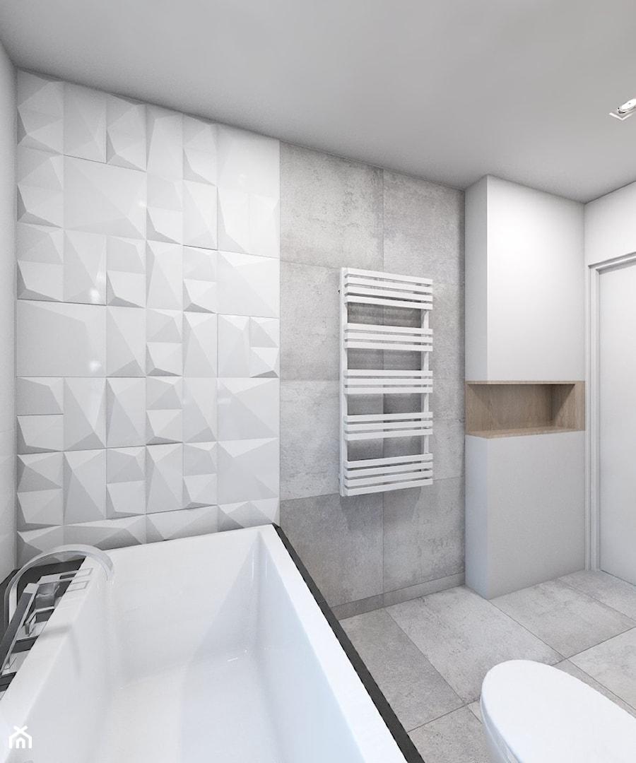 (Dom w okolicy Lublińca) Dom jednorodzinny 7 - Średnia biała szara łazienka, styl nowoczesny - zdjęcie od BAGUA Pracownia Architektury Wnętrz