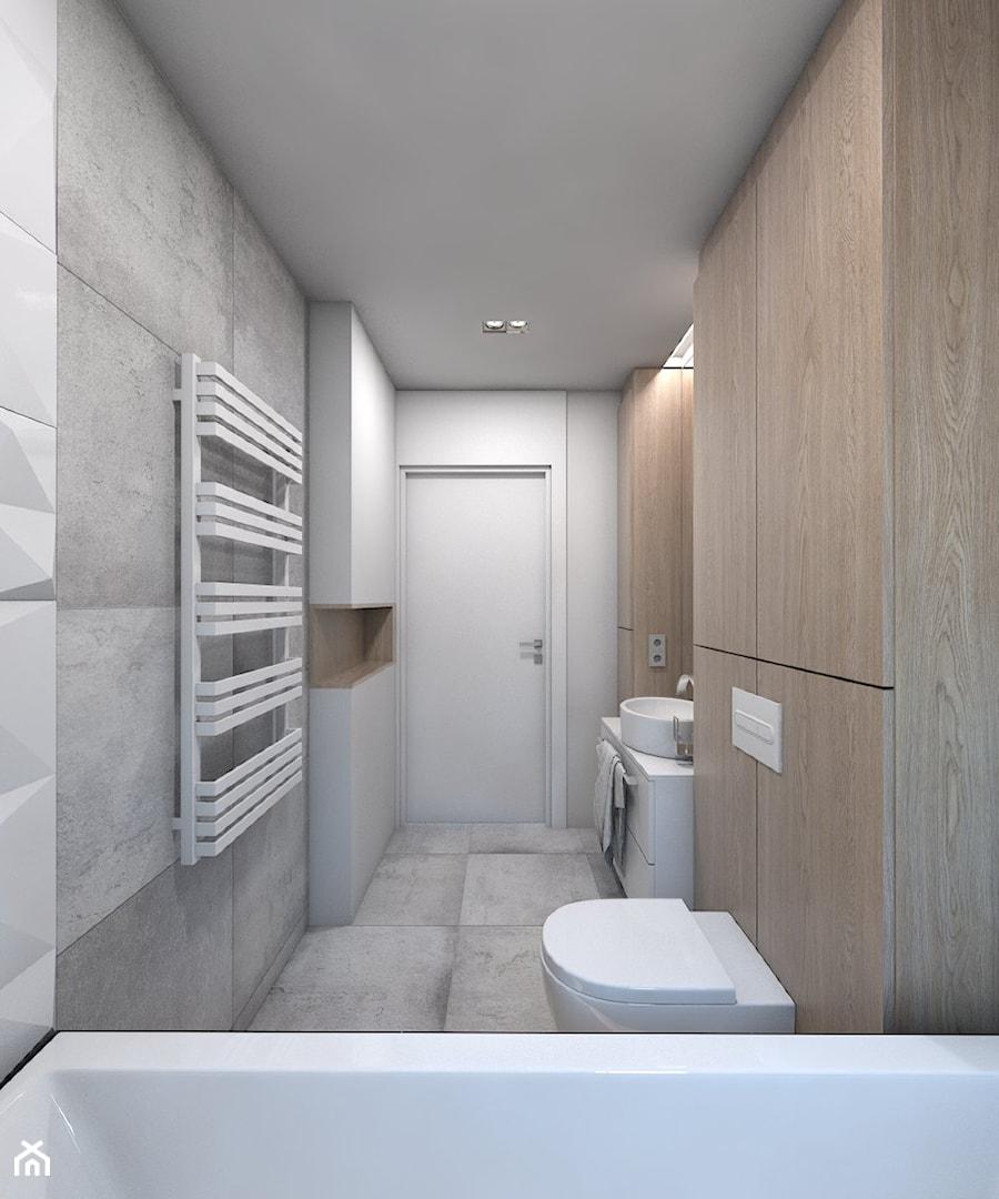 (Dom w okolicy Lublińca) Dom jednorodzinny 7 - Średnia biała szara łazienka bez okna, styl nowoczesny - zdjęcie od BAGUA Pracownia Architektury Wnętrz