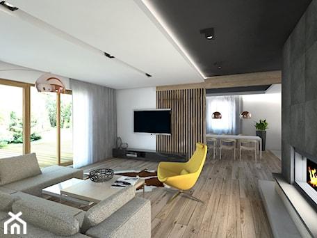 Aranżacje wnętrz - Salon: (Będzin) Projekt domu jednorodzinnego 4 - Duży biały salon z jadalnią, styl nowoczesny - BAGUA Pracownia Architektury Wnętrz. Przeglądaj, dodawaj i zapisuj najlepsze zdjęcia, pomysły i inspiracje designerskie. W bazie mamy już prawie milion fotografii!