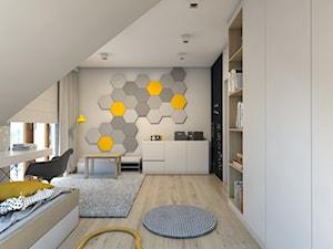 (Dom w okolicy Lublińca) Dom jednorodzinny 7 - Średni szary żółty pokój dziecka dla chłopca dla dziewczynki dla ucznia dla nastolatka, styl skandynawski - zdjęcie od BAGUA Pracownia Architektury Wnętrz