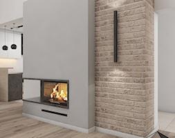 (Tarnowskie Góry) Projekt domu jednorodzinnego 14 - Mały szary brązowy salon z kuchnią, styl nowoczesny - zdjęcie od BAGUA Pracownia Architektury Wnętrz