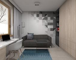 (Tarnowskie Góry) Projekt domu jednorodzinnego 1 - Duże białe biuro kącik do pracy w pokoju, styl nowoczesny - zdjęcie od BAGUA Pracownia Architektury Wnętrz