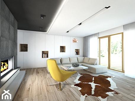 Aranżacje wnętrz - Salon: (Będzin) Projekt domu jednorodzinnego 4 - Średni biały salon, styl nowoczesny - BAGUA Pracownia Architektury Wnętrz. Przeglądaj, dodawaj i zapisuj najlepsze zdjęcia, pomysły i inspiracje designerskie. W bazie mamy już prawie milion fotografii!