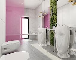 Rzeszów - D23 - Projekt domu jednorodzinnego 600 m2 - Duża biała zielona różowa łazienka z oknem, styl nowoczesny - zdjęcie od BAGUA Pracownia Architektury Wnętrz