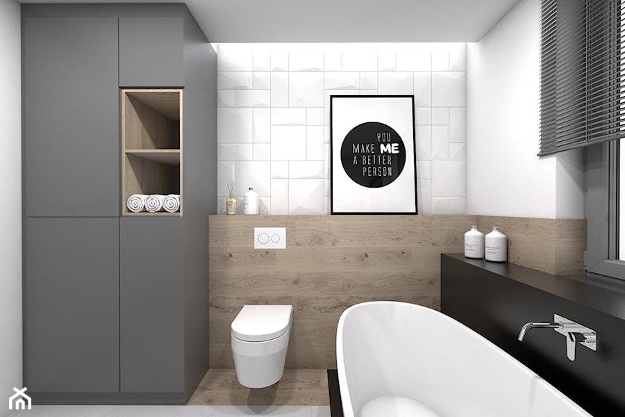 Projekt domu jednorodzinnego 3 - Średnia biała łazienka, styl skandynawski - zdjęcie od BAGUA Pracownia Architektury Wnętrz