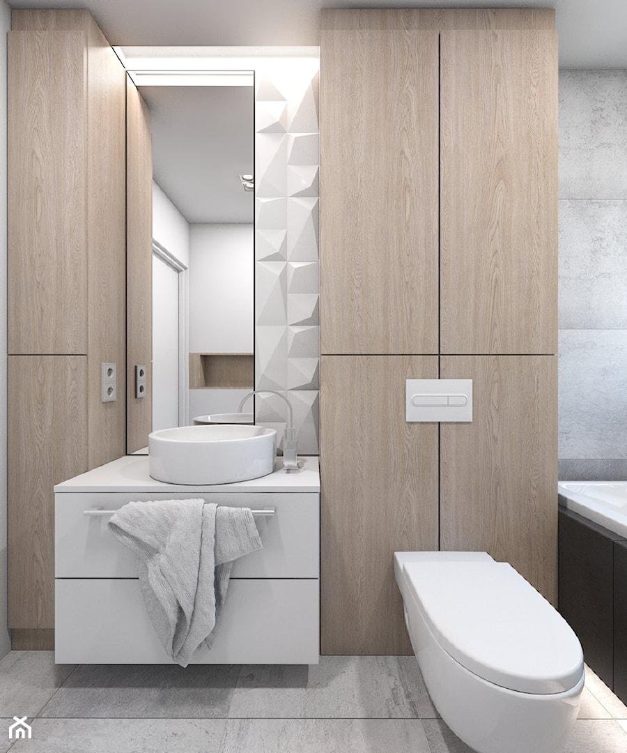 (Dom w okolicy Lublińca) Dom jednorodzinny 7 - Mała biała szara łazienka w bloku bez okna, styl nowoczesny - zdjęcie od BAGUA Pracownia Architektury Wnętrz