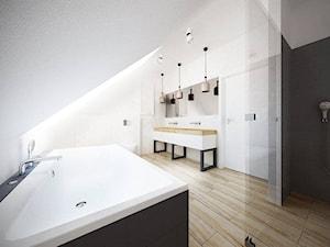 Skandynawski minimalizm - Duża biała czarna łazienka na poddaszu w domu jednorodzinnym bez okna, styl skandynawski - zdjęcie od Amicus Design
