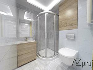 Kawalerka na Woli - Mała szara łazienka na poddaszu w bloku w domu jednorodzinnym bez okna, styl skandynawski - zdjęcie od AZ projekty