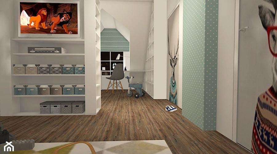 POKÓJ MAŁEGO CHŁOPCA - Mielno - Duży biały niebieski pokój dziecka dla chłopca dla dziewczynki dla ucznia dla nastolatka, styl skandynawski - zdjęcie od LAMPERIADA Paulina Kucharzewska