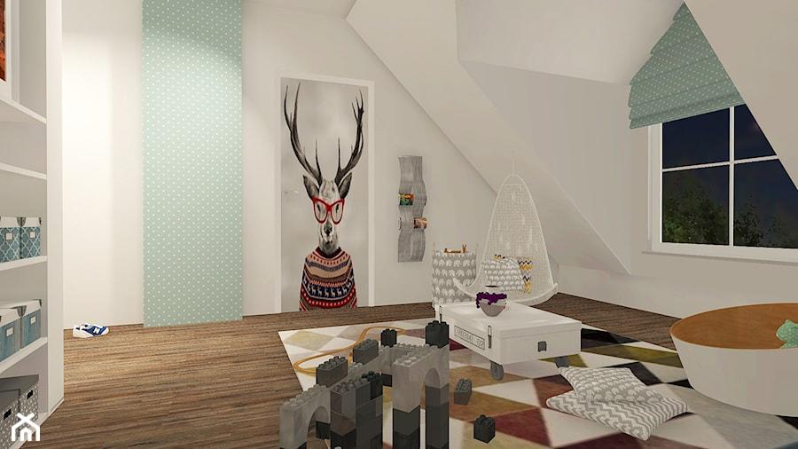 POKÓJ MAŁEGO CHŁOPCA - Mielno - Duży biały niebieski pokój dziecka dla chłopca dla dziewczynki dla malucha, styl skandynawski - zdjęcie od LAMPERIADA Paulina Kucharzewska