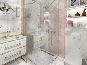 APARTAMENT WILANÓW - Mała biała beżowa łazienka na poddaszu w bloku w domu jednorodzinnym bez okna, styl glamour - zdjęcie od kingawilkdesign
