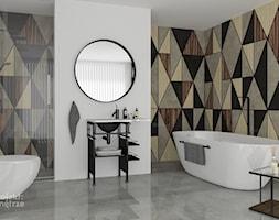 Wzorzysta tapeta w łazience nr 1 - romby - PROJEKT: WNĘTRZE www.projektwnetrze.com.pl - zdjęcie od PROJEKT: WNĘTRZE
