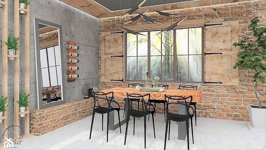 Stodoła z nowym wizerunkiem - Duża otwarta beżowa szara jadalnia jako osobne pomieszczenie, styl industrialny - zdjęcie od LuArt Design