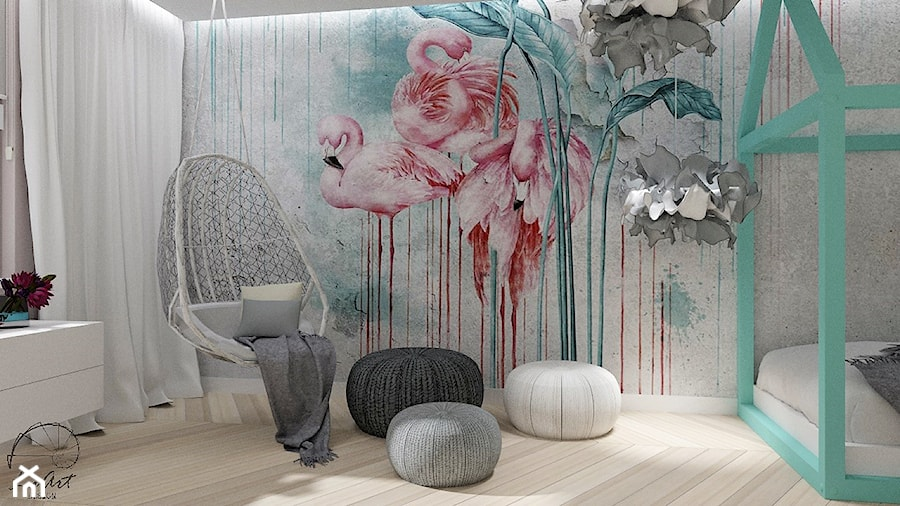 Pokój dla dziewczynki z tapetą NAKURU - Średni szary pokój dziecka dla chłopca dla dziewczynki dla nastolatka, styl vintage - zdjęcie od LuArt Design