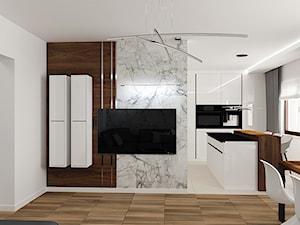 Salon z marmurowym deseniem