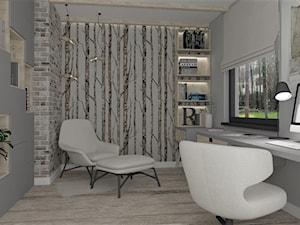 Przytulne home office - Średnie szare białe biuro domowe w pokoju, styl skandynawski - zdjęcie od LuArt Design