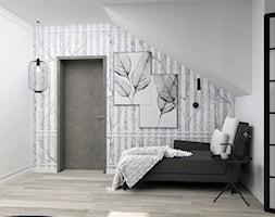 Sypialnia w brzozy - Średnia biała sypialnia dla gości na poddaszu z balkonem / tarasem, styl glamour - zdjęcie od LuArt Design
