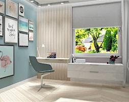 Pokój dla dziewczynki z tapetą NAKURU - Średni szary niebieski pokój dziecka dla chłopca dla dziewczynki dla ucznia dla malucha dla nastolatka, styl vintage - zdjęcie od LuArt Design