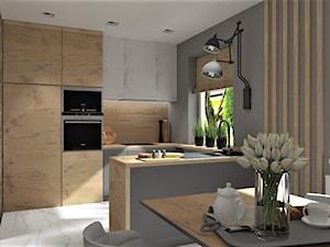 Projekt domu jednorodzinnego Wiry - Średnia otwarta szara kuchnia w kształcie litery u z oknem, styl industrialny - zdjęcie od LuArt Design