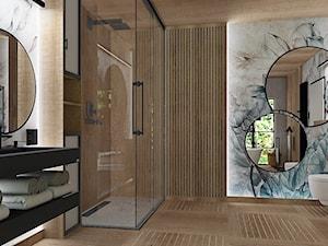 Projekt koncepcyjny łazienki z tapetą Calipso