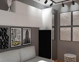 Pokój młodego futbolisty - Mały szary brązowy pokój dziecka dla chłopca dla dziewczynki dla nastolatka, styl skandynawski - zdjęcie od LuArt Design