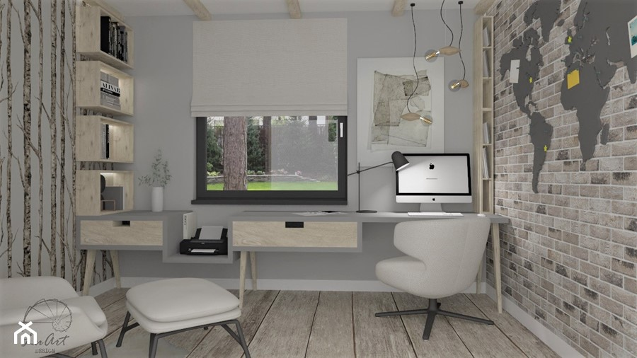 Przytulne home office - Średnie beżowe szare biuro domowe kącik do pracy w pokoju, styl skandynawski - zdjęcie od LuArt Design