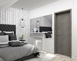 Sypialnia w brzozy - Średnia biała sypialnia małżeńska na poddaszu, styl glamour - zdjęcie od LuArt Design
