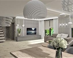 Salon Drewno i Cegła - Duży salon z jadalnią z tarasem / balkonem, styl nowoczesny - zdjęcie od LuArt Design