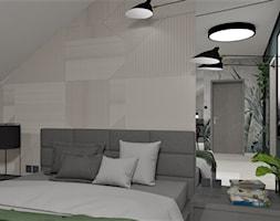Sypialnia z tapetą od Wonderwall - Średnia biała czarna sypialnia małżeńska na poddaszu, styl industrialny - zdjęcie od LuArt Design