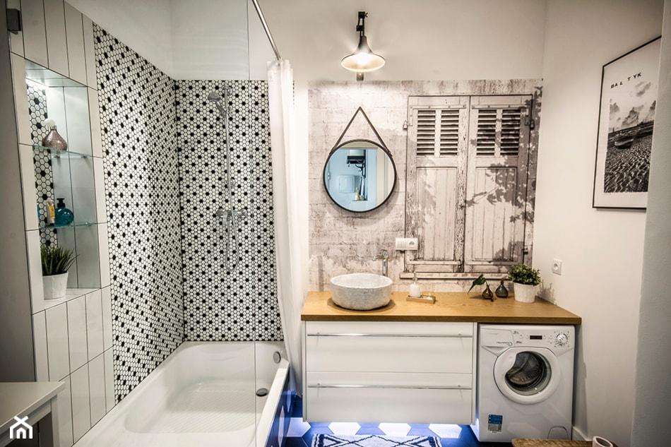 50 + 30 metrów kwadratowych - Średnia biała łazienka bez okna, styl skandynawski - zdjęcie od Tak Po Prostu Wnętrza - Homebook