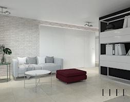 Projekt holu z biurem i toaletą - Średnie szare biuro domowe w pokoju, styl nowoczesny - zdjęcie od LIBRA Architekci
