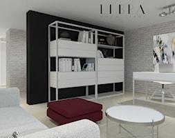 Projekt holu z biurem i toaletą - Średnie czarne szare biuro domowe kącik do pracy w pokoju, styl nowoczesny - zdjęcie od LIBRA Architekci