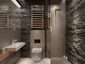 Dom w Bieszczadach - Średnia czarna szara łazienka bez okna, styl nowoczesny - zdjęcie od Make It Yours