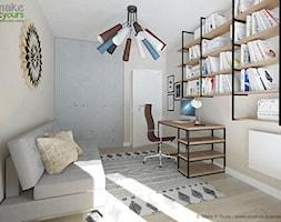 Mieszkanie - Kraków, Bagry Park - Małe szare biuro pracownia domowe kącik do pracy na poddaszu w pokoju - zdjęcie od Make It Yours