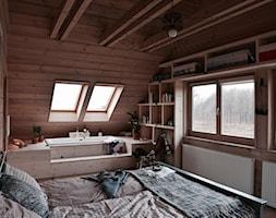 Dom - Średnia sypialnia małżeńska na poddaszu z łazienką, styl eklektyczny - zdjęcie od Julia Rozumek