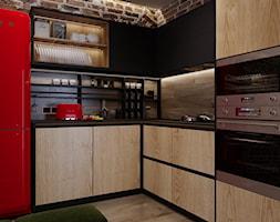 Rb_Architects Żoliborz Artystyczny - Mała zamknięta czarna kuchnia w kształcie litery l, styl industrialny - zdjęcie od RB ARCHITECTS