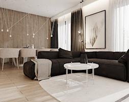 P_08_2017_TARNOWSKIE GÓRY - Duży biały brązowy salon z jadalnią, styl nowoczesny - zdjęcie od KREOWNIA studio projektowe