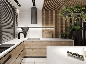 P_O2_2018_KOSZĘCIN - Duża biała beżowa kuchnia w kształcie litery l w aneksie z wyspą z oknem, styl nowoczesny - zdjęcie od KREOWNIA studio projektowe