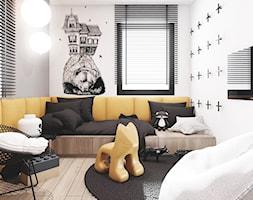 P_08_2017_TARNOWSKIE GÓRY - Mały biały szary pokój dziecka dla chłopca dla malucha, styl nowoczesny - zdjęcie od KREOWNIA studio projektowe