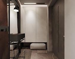 P_01_2018_POZNAŃ - Mały biały beżowy brązowy szary hol / przedpokój, styl minimalistyczny - zdjęcie od KREOWNIA studio projektowe