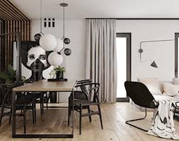 P_O2_2018_KOSZĘCIN - Średnia otwarta biała jadalnia w salonie, styl nowoczesny - zdjęcie od KREOWNIA studio projektowe
