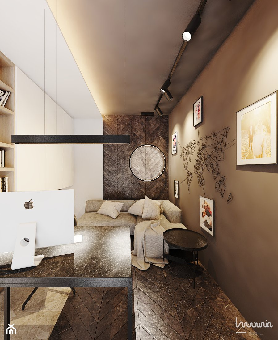 P_05_2018_TARNOWSKIE GÓRY - Małe beżowe brązowe białe biuro kącik do pracy w pokoju, styl nowoczesny - zdjęcie od KREOWNIA studio projektowe