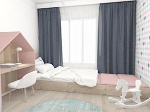 Pokój dziecka - Mały biały kolorowy pokój dziecka dla dziewczynki dla ucznia dla malucha, styl nowoczesny - zdjęcie od m3design
