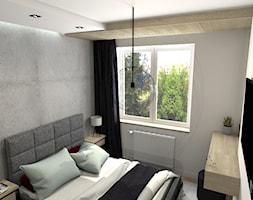 Mała sypialnia - Mała biała szara sypialnia małżeńska - zdjęcie od m3design