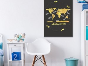 Młodzieżowy obraz z mapą świata - zdjęcie od Artpasaz