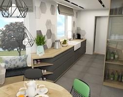 Industrialnie - Średnia otwarta biała jadalnia w kuchni, styl industrialny - zdjęcie od Inspirem