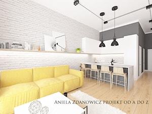 projekt mieszkania na Ochocie-Warszawa - Mała otwarta biała kuchnia w kształcie litery u w aneksie, styl minimalistyczny - zdjęcie od Aniela Zdanowicz Projekt od A do Z